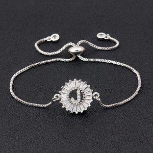"Silver Round Letter ""J"" Initial Name CZ Bracelet"